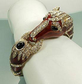 Big 1960s Ciner Cognac Enamel Strass Horse Bracelet