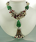 Unsgn. Chanel Red Green Gripoix  Glass Necklace: France