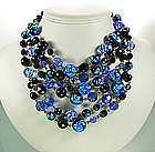6 Tier Foiled Blue Black Glass Bib Necklace: France