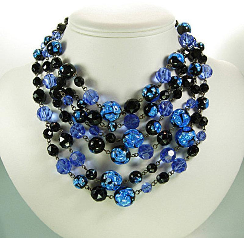 6 Tier Foiled Blue Black Glass Bib Necklace: France