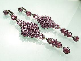 60s Italian Coppola e Toppo Style Purple Glass Earrings