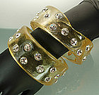 2 Huge 70s Couture Applejuice Resin Diamante Bangles