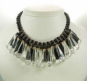 C 1960 Madame Gres Lucite / Glass Fringed Bib Necklace