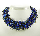 Yves Saint Laurent Gunmetal and Blue Glass Necklace
