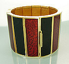 1970s Yves Saint Laurent Wide Red Black Enamel Bracelet