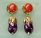 Statement Size Yves Saint Laurent Red Purple Earrings