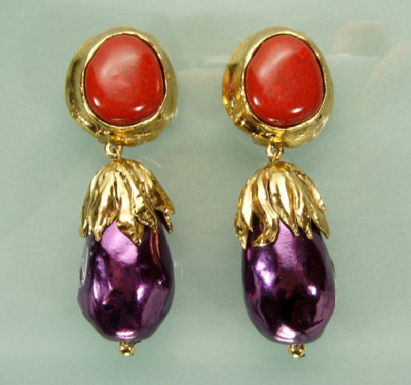 Statement Size Yves Saint Laurent Red Purple Earrings