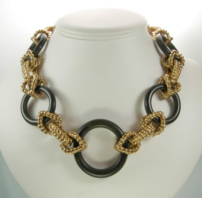 Robert Goossens Rope Form Metal Wood Necklace France