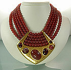 1970s YSL Beaded Statement Necklace: Glass Stones