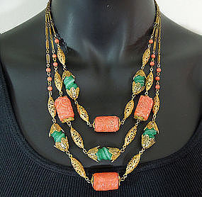 3 Tier French Necklace: Glass Coral and Jade, Filigree