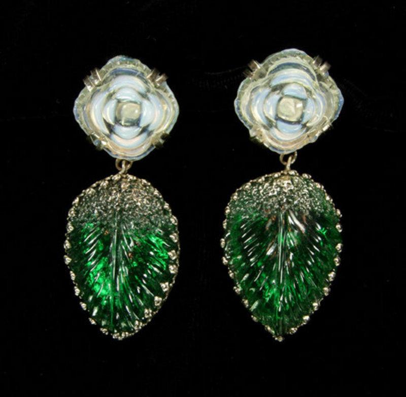 Luminous Green, Opaline Glass Drop Earrings:  France