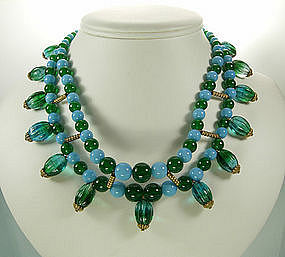 Christian Dior Germany Green Blue Glass Necklace: 1965