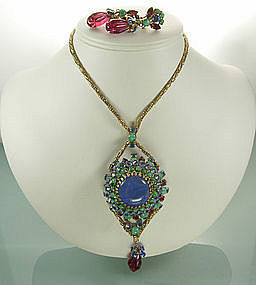 1960 Unsigned Schreiner Necklace Earrings Blue and Pink