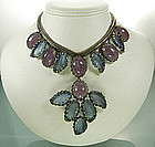 1960 Unsigned Schreiner Necklace Huge Blue Pink Stones