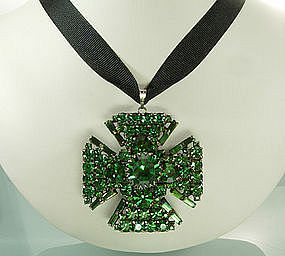 Schreiner 2 Sided Green Stones Maltese Cross Pendant