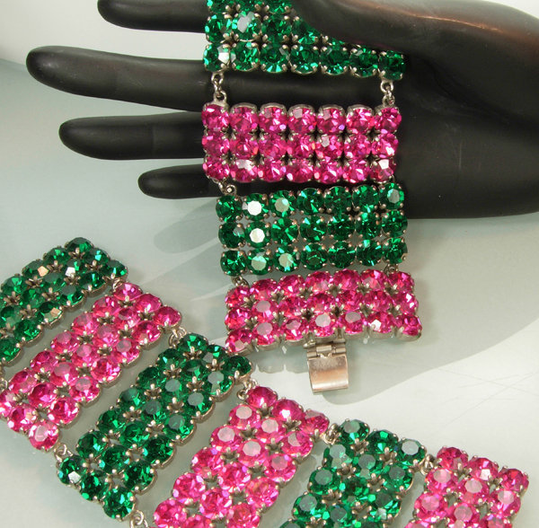Pair French 1970s Bracelets: Huge Green, Pink Stones