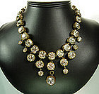 C 1960 Couture Necklace: Huge Brilliant Strass Stones