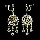 Edwardian Sterling  Rock Crystal Stones Drop Earrings