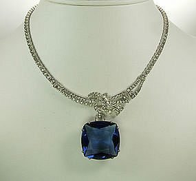 1940s Otis Sterling and Paste Necklace: Huge Blue Stone