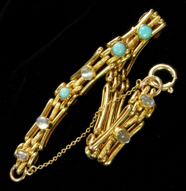 English Arts & Crafts Gold Turquoise Moonstone Bracelet