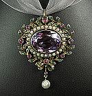Georgian Gold Amethyst Ruby Emerald Pearl Pin / Pendant