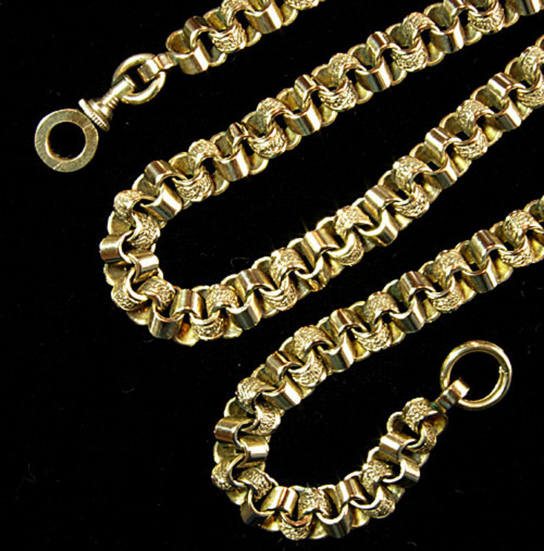 Antique Victorian 14KT Gold Engraved Necklace Chain