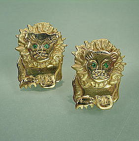 C 1970 14KT Gold, Emerald Lion Motif Earrings Signed MS