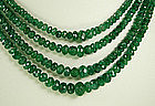 Stunning 4 Strand Necklace Carved Faceted Emerald Beads