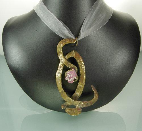 Huge 70s Studio Modern Bronze Rhodochrosite Pendant