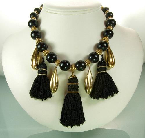 Yves Saint Laurent France Black Tasselled Bib Necklace