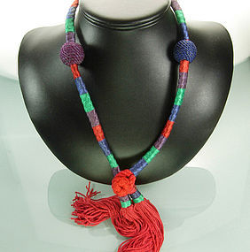 French Drop Necklace Multi Color Silk Beads, Tassels