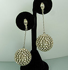 Brilliant 1960s French  Diamante Studded Drop Earrings