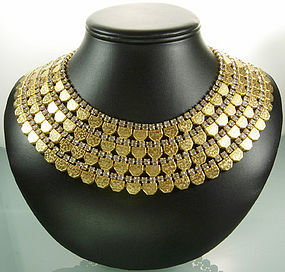 Superglam 60s Egyptian Collar Tiered Diamante Necklace