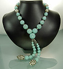 Rousselet Aqua Glass, Strass Necklace Earrings: France