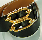 1970s Hermes Equestrian Motif Buckle Black Leather Belt