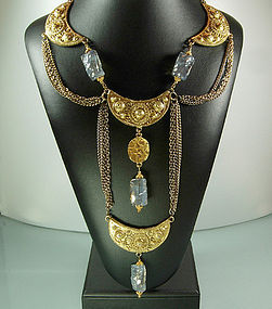1960s Etruscan Long Statement Necklace, Glass Beads