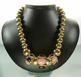 Statement Yves Saint Laurent Necklace: Glass Cabochons