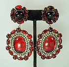 Fabulous 60s Kenneth Lane Red Lucite, Strass Earrings