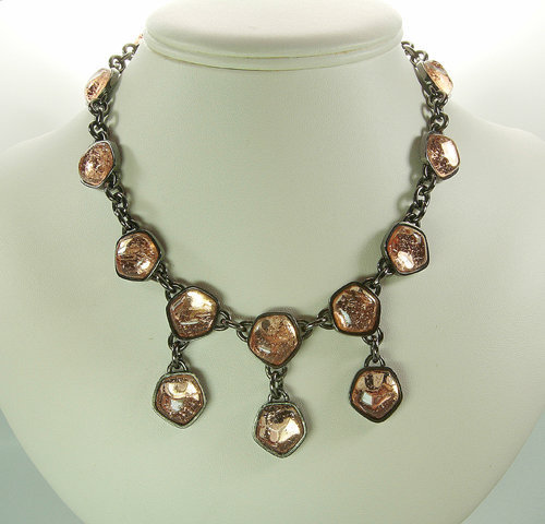 Unsigned Yves Saint Laurent Necklace Peach Poured Glass
