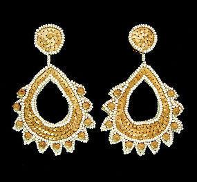 Huge 1960s Kenneth Lane KJL Earrings: Raffia Paillettes