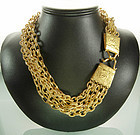Statement Signed Karl Lagerfeld 5 Strand Chain Necklace
