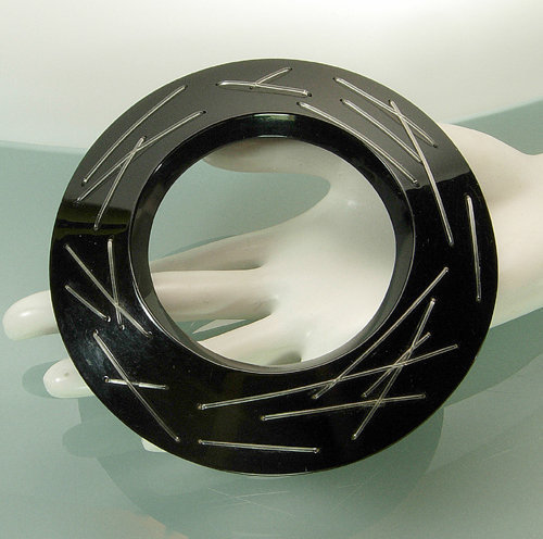 "Huge Couture Modernist Black Lucite ""Stitched"" Bangle"