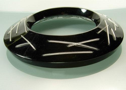 "Huge Couture Modernist Black Lucite ""Stitched"" Bangle"
