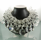 Amazing Huge 1960s Clear Lucite Beaded Collar Necklace