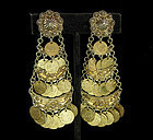 1970s Statement Size 900 Silver Etruscan Coin Earrings