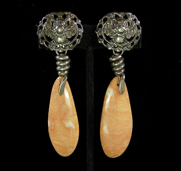 Very Big Stephen Dweck Sterling Agate Earrings: Beetles