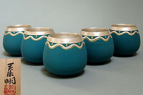 Set of Five Mukozuke Cups by Morino Taimei
