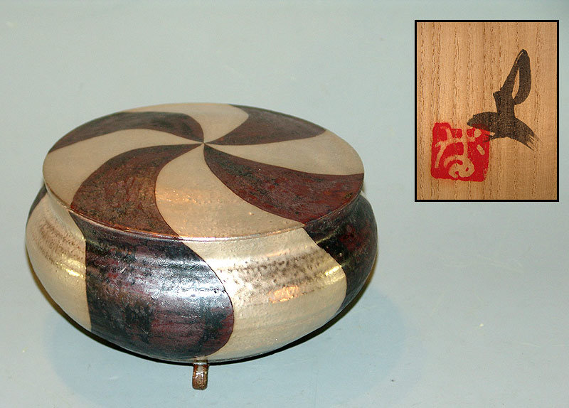 Contemporary Covered Ginsai Dish by Banura Shiro