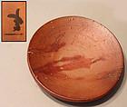 Modern Bizen Pottery Plate by Fujiwara Ken