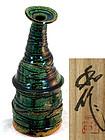 Contemporary Oribe Vase by Yamada Kazu